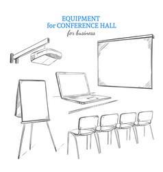 Hand drawn business presentation equipment set vector