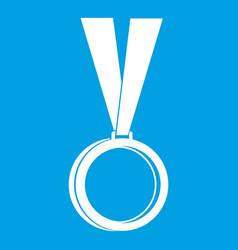 Medal icon white vector