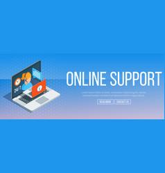 Online support banner vector