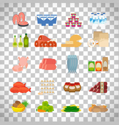 supermarket food icons on transparent background vector image