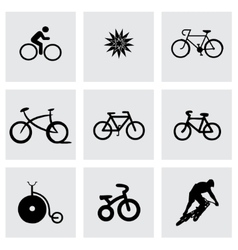 Black bicycle icons set vector