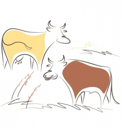 cow and bull vector image