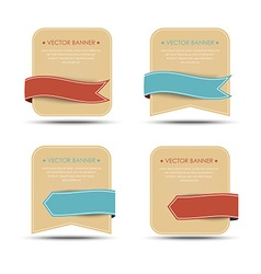 Set of retro banners and ribbons of different vector