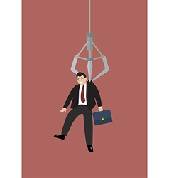 Robotic claw clutching a businessman vector