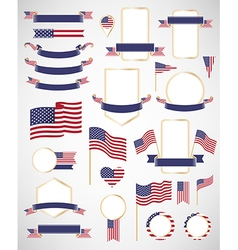 American flag decoration elements vector