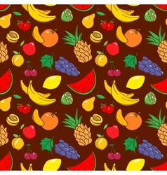 doodle seamless pattern with fruits vector image