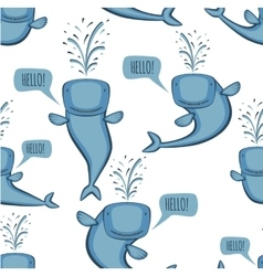 Animated whale pattern vector image