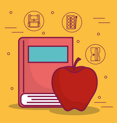 Book and apple icon vector