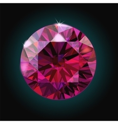 Brilliant ruby on black background red crystal vector