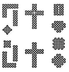 Celtic style endless knot symbols in black vector