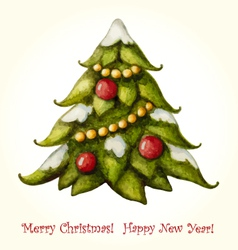 Christmas watercolor greeting card with christmas vector