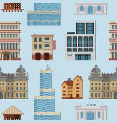 different city public buildings houses set vector image