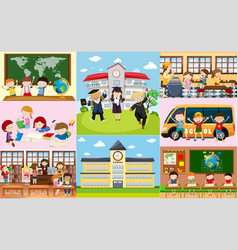 different scenes at school with students vector image vector image