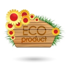 Eco product wood banner with flowers vector