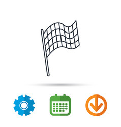 finish flag icon start race sign vector image