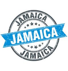 Jamaica blue round grunge vintage ribbon stamp vector