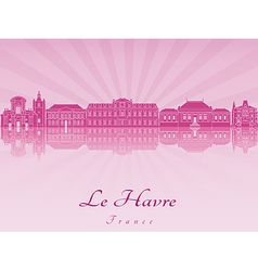 Le havre skyline in purple radiant orchid vector