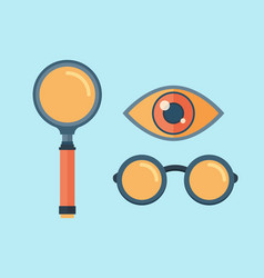 Magnifying glass exploration scientific vector