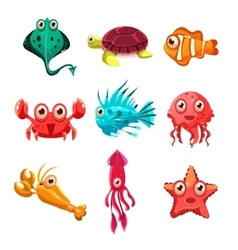 Many species of fish and marine animal life vector image