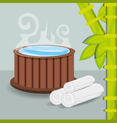 Natural hot water with towel and bamboo vector