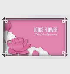 Oriental floral background with pink lotus vector