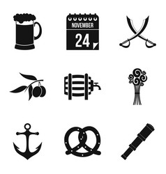 rom icons set simple style vector image vector image