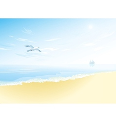 Seascape with sea surfacecloudy sky seagull vector image