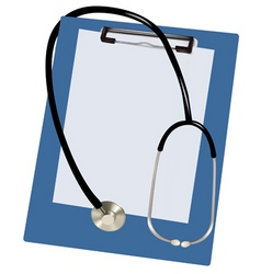 stethoscope and blank clipboar vector image