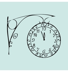 Street clock with a dial of midnight new year vector