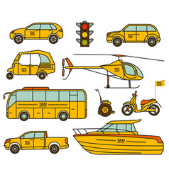 Taxi line icons set vector