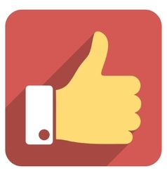 Thumb up flat rounded square icon with long shadow vector