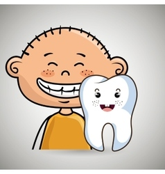 Smiling child and tooth cartoon vector