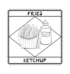 Fries and ketchup vector