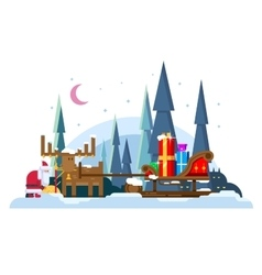Christmas sleigh full of gifts vector