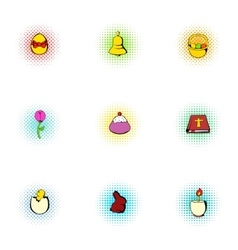 Orthodox easter icons set pop-art style vector