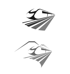 Express train rail transport icon emblem vector