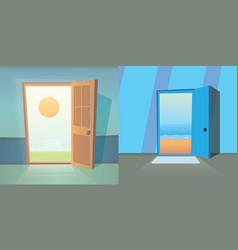 Open door collection set of cute doors vector