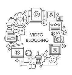 Video blogging thin line concept vector