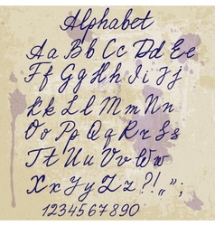 Hand-written alphabet on old paper with blots vector