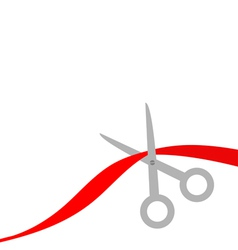 Scissors cut the red ribbon isolated flat design s vector