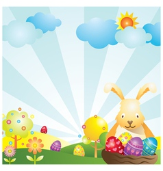 Easter with bunny and eggs background vector