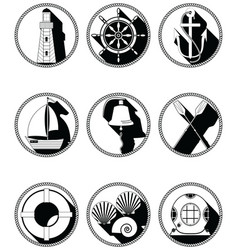 Nautical elements i icons in knotted circle in vector