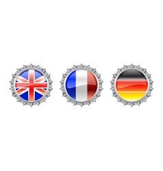 bottle cap flags set vector image
