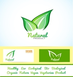 Green leafs eco bio product vector