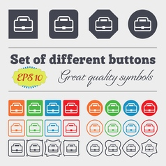 Briefcase icon sign big set of colorful diverse vector