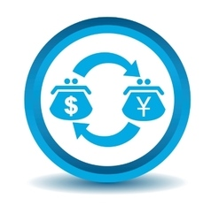 Dollar-yen trade icon blue 3d vector