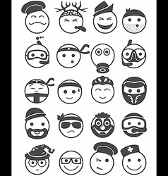 20 smiles icons set profession black and white vector image