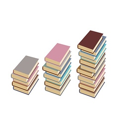 Set pile of books on a white background vector