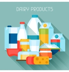 With dairy products in flat design vector