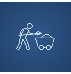 Mining worker with trolley line icon vector